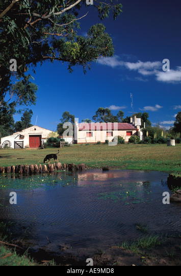 Uruguay South America Hacienda Ranch in the Country with pond - Stock Image