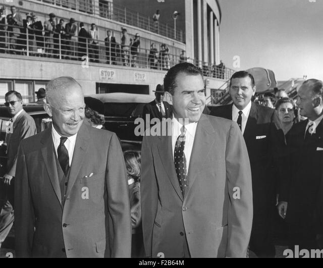President Eisenhower seeing Richard Nixon off at National Airport. He attended a Republican Kick-off breakfast for - Stock Image