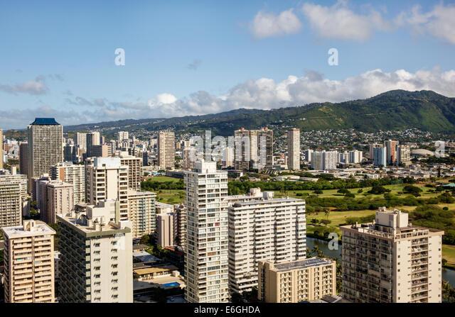 Hawaii Hawaiian Honolulu Waikiki Beach resort high rise building hotels condominium buildings Makiki Lower Punchbowl - Stock Image