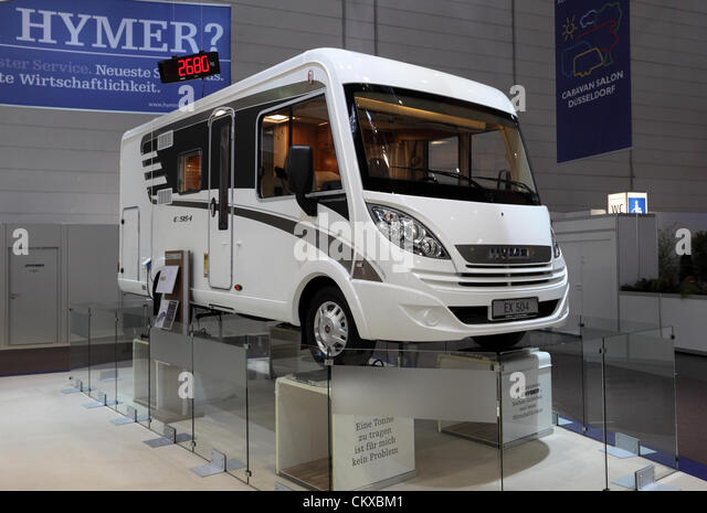 DUESSELDORF - AUGUST 27: Lightweight Hymer EX 504 Recreational Vehicle at the Caravan Salon Exhibition 2012 on August - Stock Image