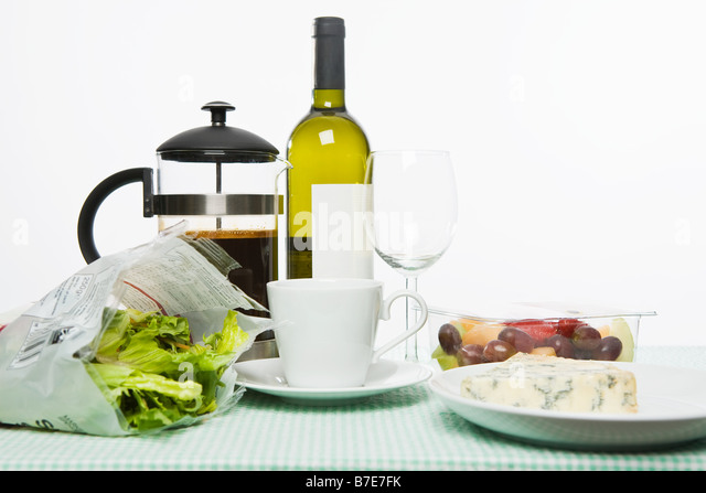 Selection of food and drink - Stock Image