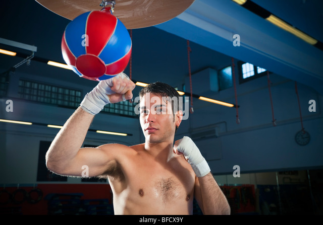young adult man hitting speed bag in gym. Copy space - Stock Image
