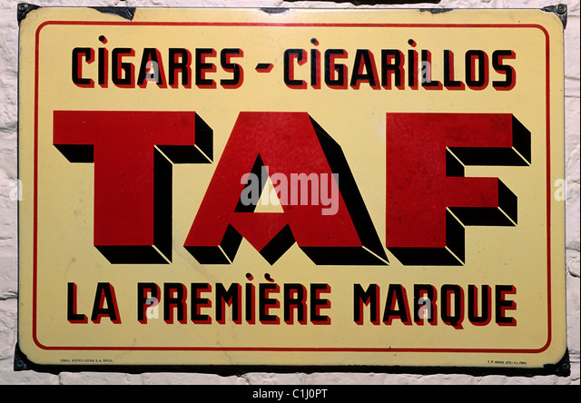 Belgium, Wervick on the French border, the advertising poster of the museum of the tobacco - Stock Image
