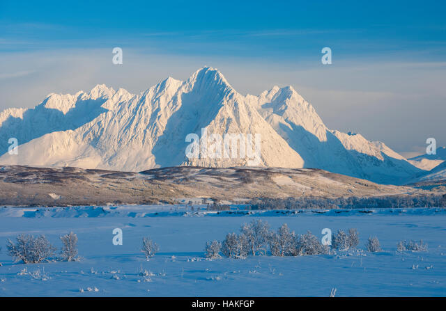 Snowy Winter Landscape with Lyngen Alps, Breivikeidet, Troms, Norway - Stock Image