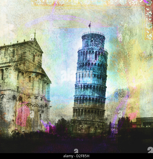 The leaning tower of Pisa. Photo based illustration.  - Stock Image