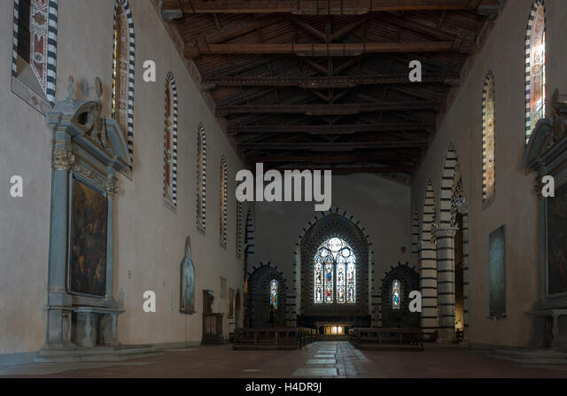 Interior of the Santa Caterina d'Alessandria church built between 1251 and 1300. The interior, afte - Stock Image