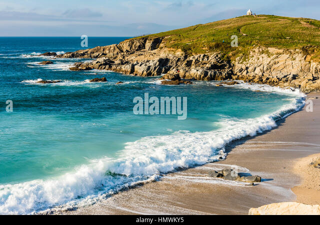 Crashing waves at Fistral Beach, Newquay, Cornwall, UK - Stock Image