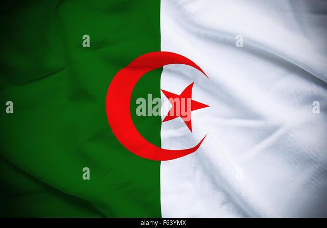 Wavy and rippled national flag of Algeria background. - Stock Image
