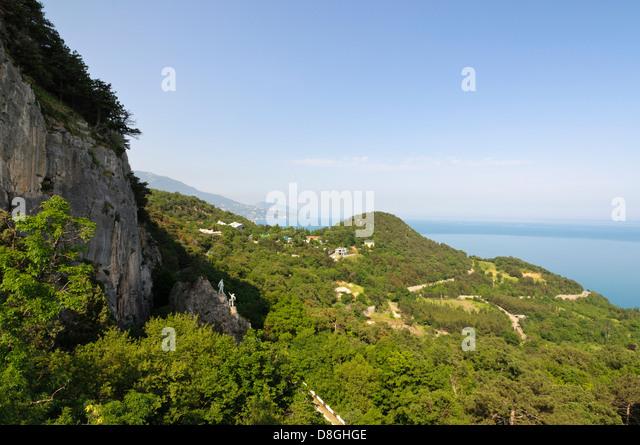 View from the Crimea Mountains towards the Black Sea, Yalta, Crimea, Ukraine - Stock Image