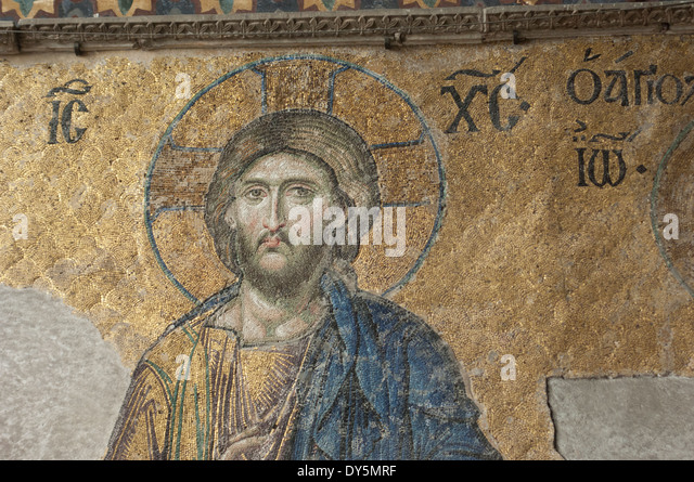 Byzantine mosaic of Jesus in the Hagia Sophia, Istanbul. - Stock Image