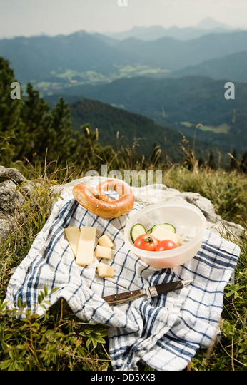 Germany, Bavaria,, Bavarian snack with mountains in background - Stock-Bilder