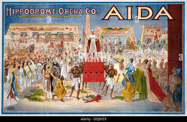 AIDA Poster for 1908 production of Verdi's opera in Cleveland, USA - Stock Image