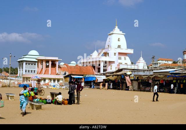 South India Tamil Nadu Kanyakumari Hindu temple district Gandhi memorial - Stock Image