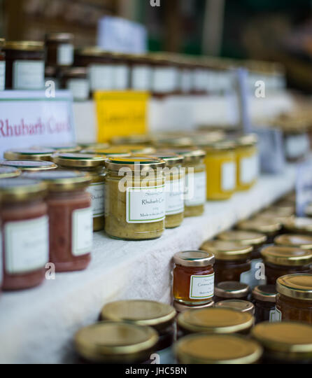 Manx preserves for sale at Isle Of Man food festival - Stock Image
