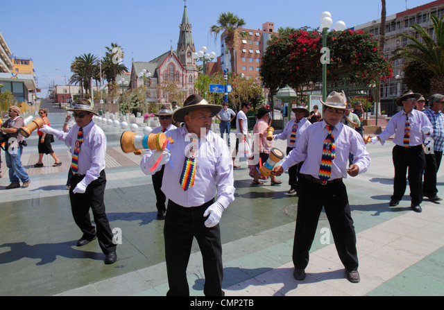 Chile Arica Plaza Colon 'Carnaval Andino' Andean Carnival parade indigenous Aymara heritage folklore celebration - Stock Image
