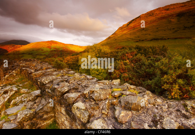The hilltop ruin of Castell Y Bere in late Autumn light in Snowdonia. - Stock Image