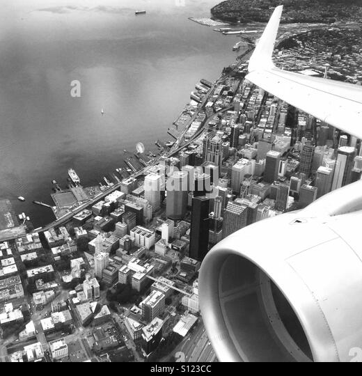 A view of Downtown Seattle from an airplane window. Seattle, Washington USA - Stock Image