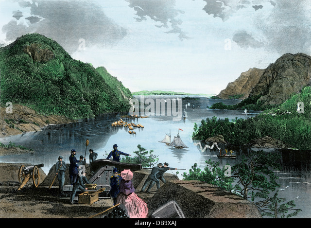 Cadets at West Point on the Hudson River highlands, 1870s. - Stock Image