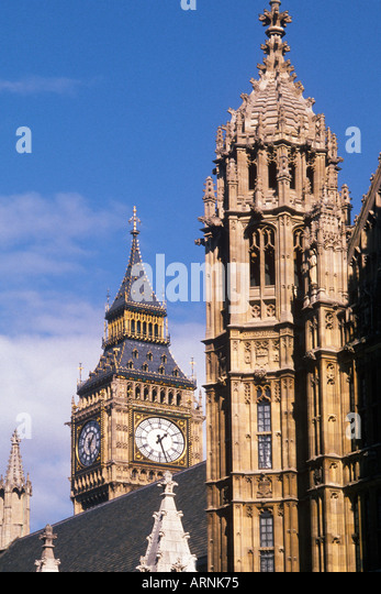 Europe Great Britain United Kingdom UK London England Big Ben and Houses of Parliament on Parliament Square - Stock Image