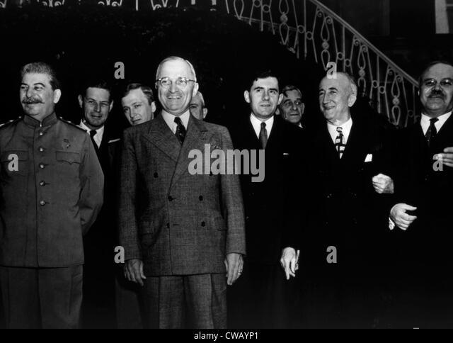 The Potsdam Conference, Josef Stalin, Harry S. Truman, James Byrnes, Vyacheslav Molotov, 1945. - Stock Image