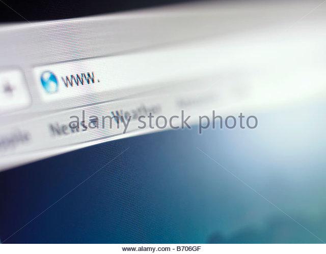 Close up of address bar on internet browser - Stock-Bilder