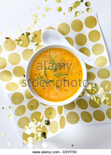 Two carrot soup - Stock Image