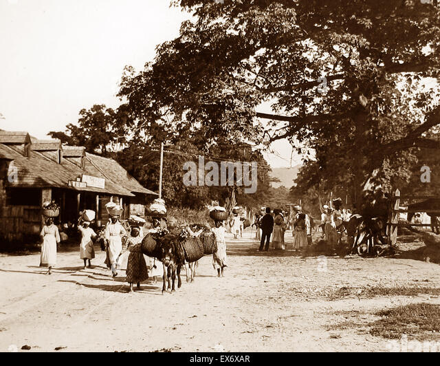 The Half-Way Tree, Kingston, Jamaica - Victorian period - Stock Image