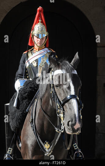 A mounted Soldier from The Blues and Royals Regiment of the British Army stands guard on Horse Guards Parade, Whitehall, - Stock Image