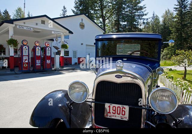 Old Ford truck. Gustavus petrol station. Alaska. USA - Stock Image