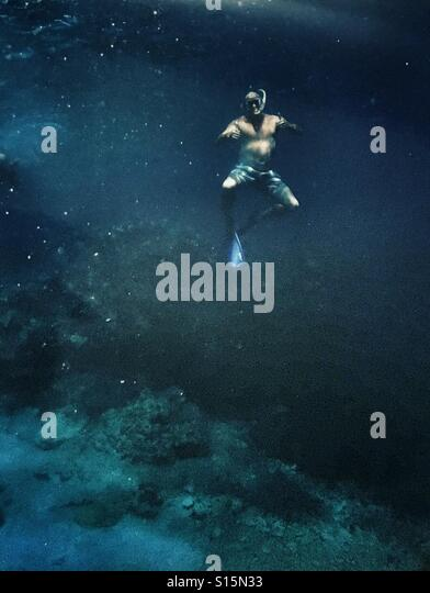 Free diving, in the ocean, feeling like the only person in the world - Stock-Bilder