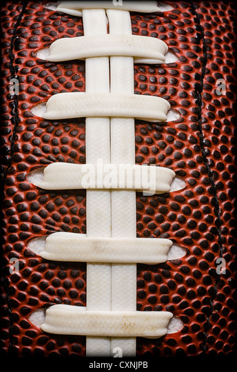 American Football Laces Closeup - Stock Image