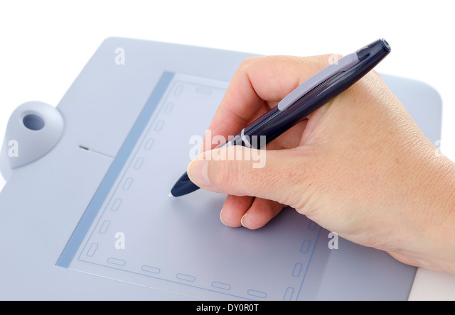 Close up of female hand using pen on digital tablet. - Stock Image