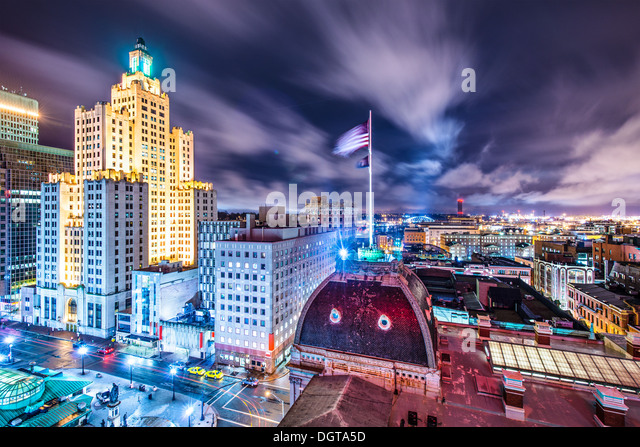 Providence, Rhode Island downtown cityscape viewed from behind city hall. - Stock Image