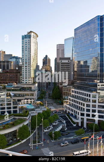 The Fairmont Waterfront, Burrard Street, Vancouver, British Columbia, Canada, North America - Stock Image