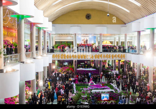 Kimilsungia Flower Exhibition Hall with flower show to celebrate Kim Il Sung's 100th Anniversary, Pyongyang, - Stock Image