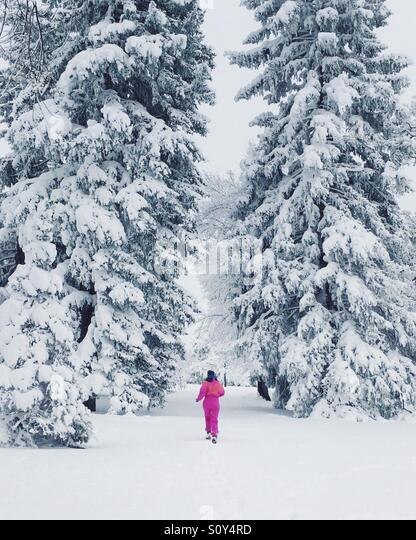 Running in the Snow - Stock Image