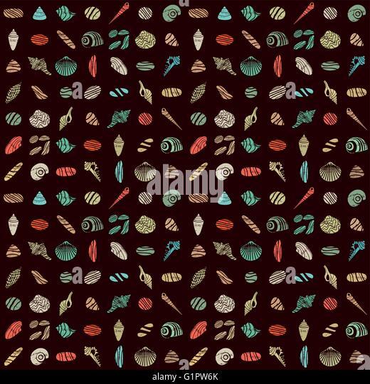 Shells and rocks seamless pattern 1 - Stock Image