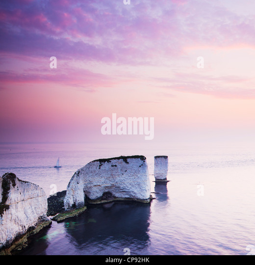 View of Old Harry Rocks, Chalk Stacks which jut out into the English Channel from the Jurassic Coast, Handfast Point, - Stock-Bilder