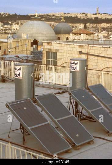Rooftop solar water heaters Jerusalem old city  - Stock Image