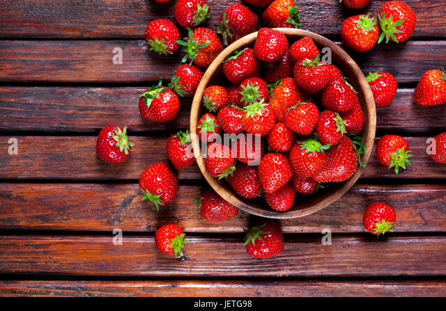 Strawberries. Top view, copy space - Stock Image