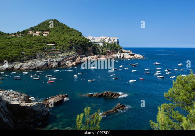 View over bay, Sa Tuna, near Begur, Costa Brava, Catalonia, Spain, Mediterranean, Europe - Stock Image
