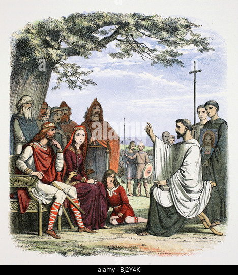 Augustine preaching before King Ethelbert, 597 (1864). Artist: James William Edmund Doyle - Stock Image