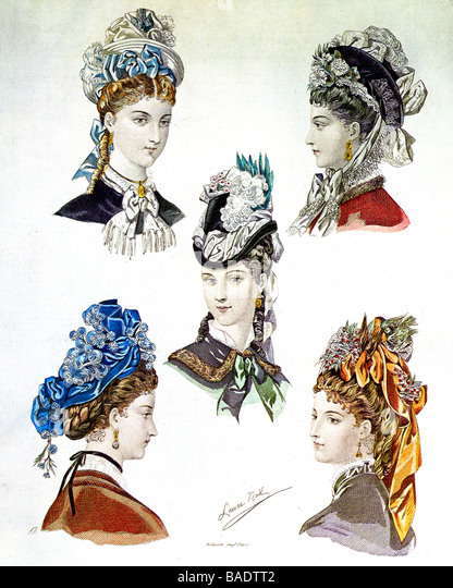 PARIS HAT STYLES in the 19th century - Stock Image