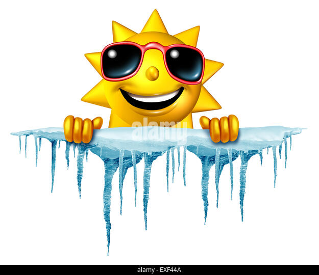 Summer cool down concept and cooling off idea as a sun character icon holding on to a chunk of snow and ice with - Stock-Bilder