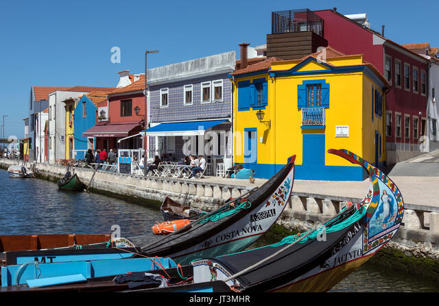 The port of Aveiro, known as the Venice of Portugal, is a popular tourist destination in the Centro region of Portugal. - Stock Image