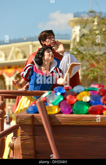 Snow White and Prince at Parade in Magic Kingdom, Disney World Resort, Orlando Florida - Stock Image