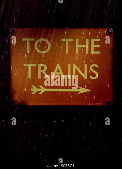 Close up of a to the trains sign - Stock Image