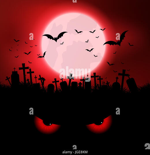 Halloween background with evil eyes and graveyard - Stock Image