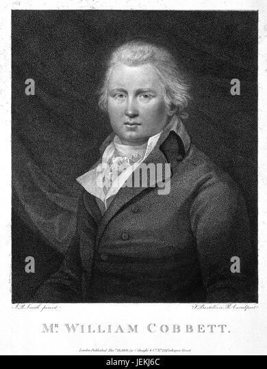WILLIAM COBBETT (1763-1835) English journalist and politician in an 1831 engraving. - Stock-Bilder