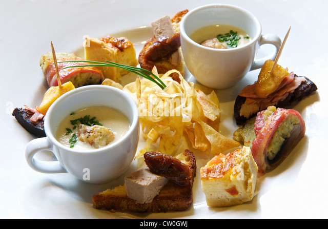 Plate of various tapas - Stock Image
